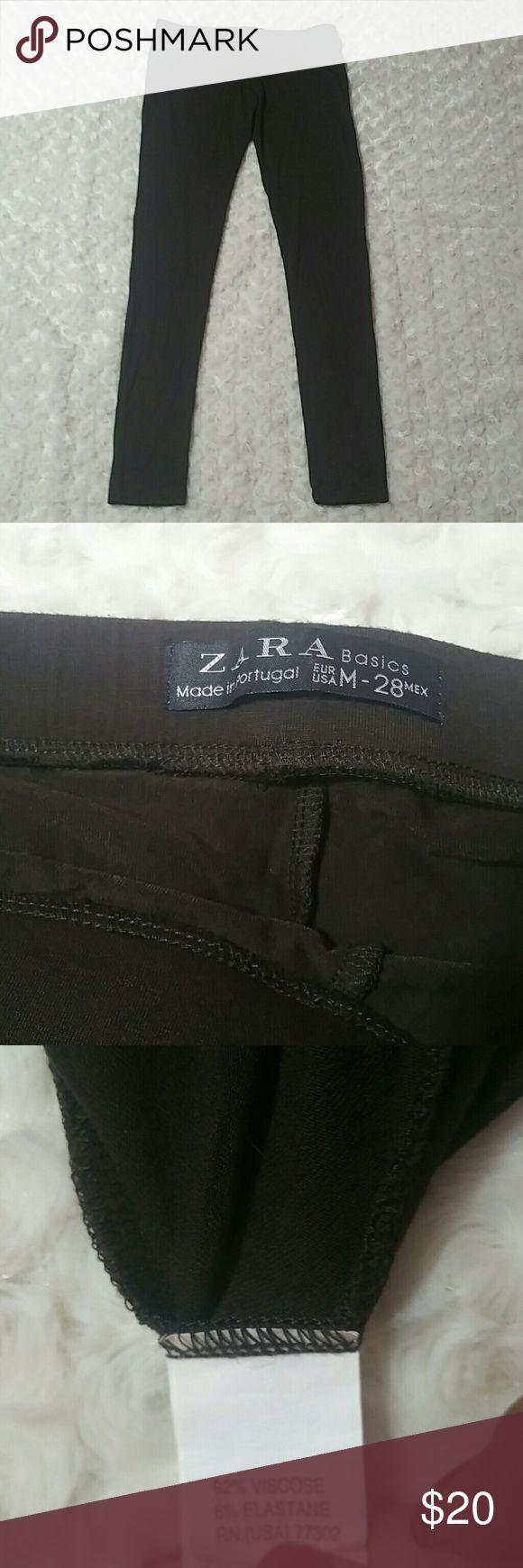 "Zara Chocolate Brown Basic Leggings Medium Excellent condition - no piling or signs of wear whatsoever - 92% viscose - 8% elastane - chocolate brown - size medium - 27.25"" inseam Zara Pants Leggings"