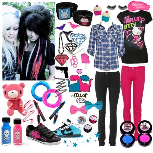 Scene outfit. That hair, yellow knee high converse, my chemical romance/ BBC