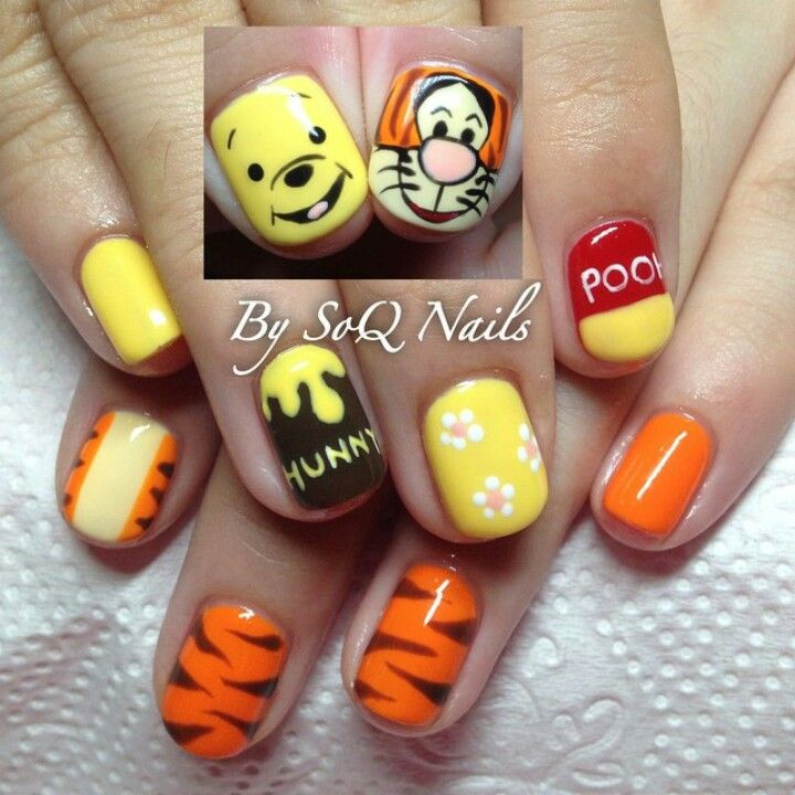 Winnie the pooh & Tigger nails art by @soqnails