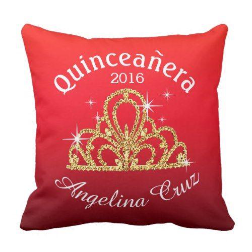Quinceanera Tiara Bokeh Bling | ombre red Throw Pillow