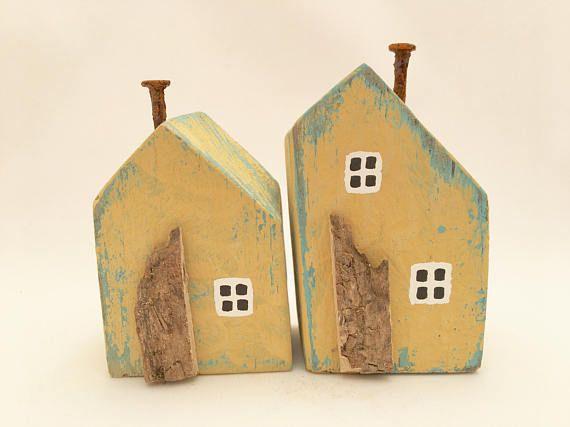 Little Wooden Yellow & Turquoise Houses Miniature Seaside