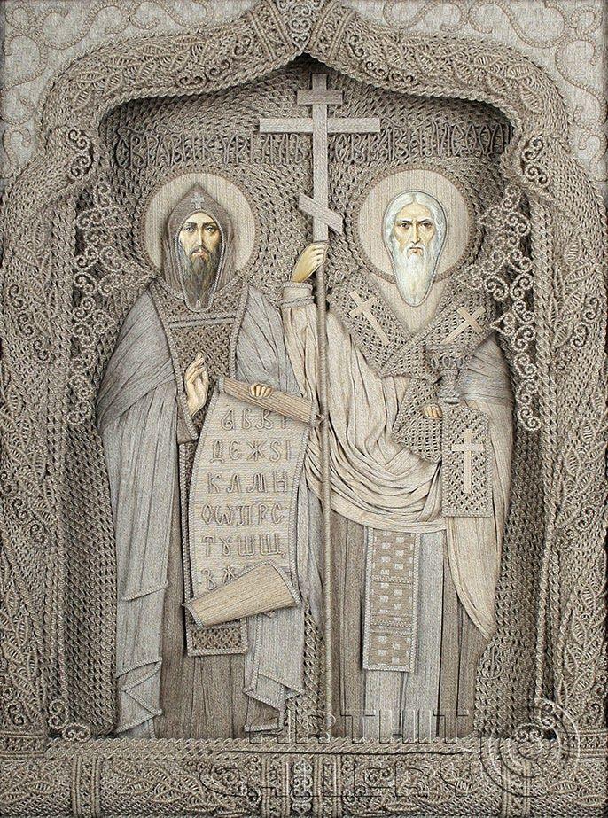 Vladimir Denshchikov Ukraine | Creator of Icons using linen threads.