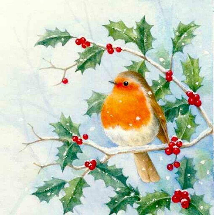 Спокойной, новогодние птички открытки