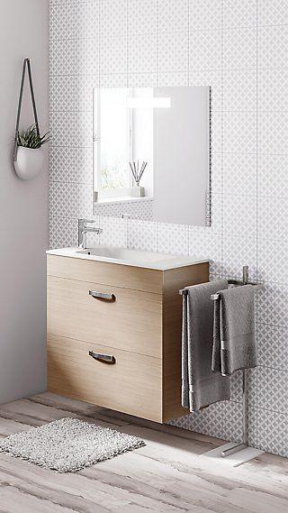 Conjunto mueble baño con lavabo y espejo Nadi roble 80 cm ...