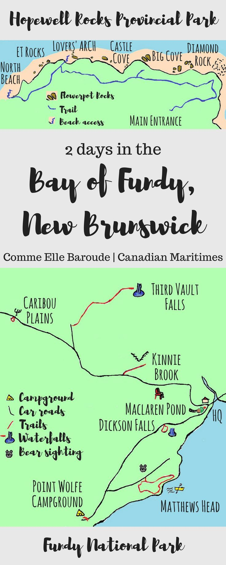2 days in the Bay of Fundy, Canada, on the New Brunswick side - seeing nature's art gallery in Hopewell Rocks National Park, hiking trails to find pristine waterfalls in Fundy National Park, and passing a quick night in the laid back harbour town of Saint John!