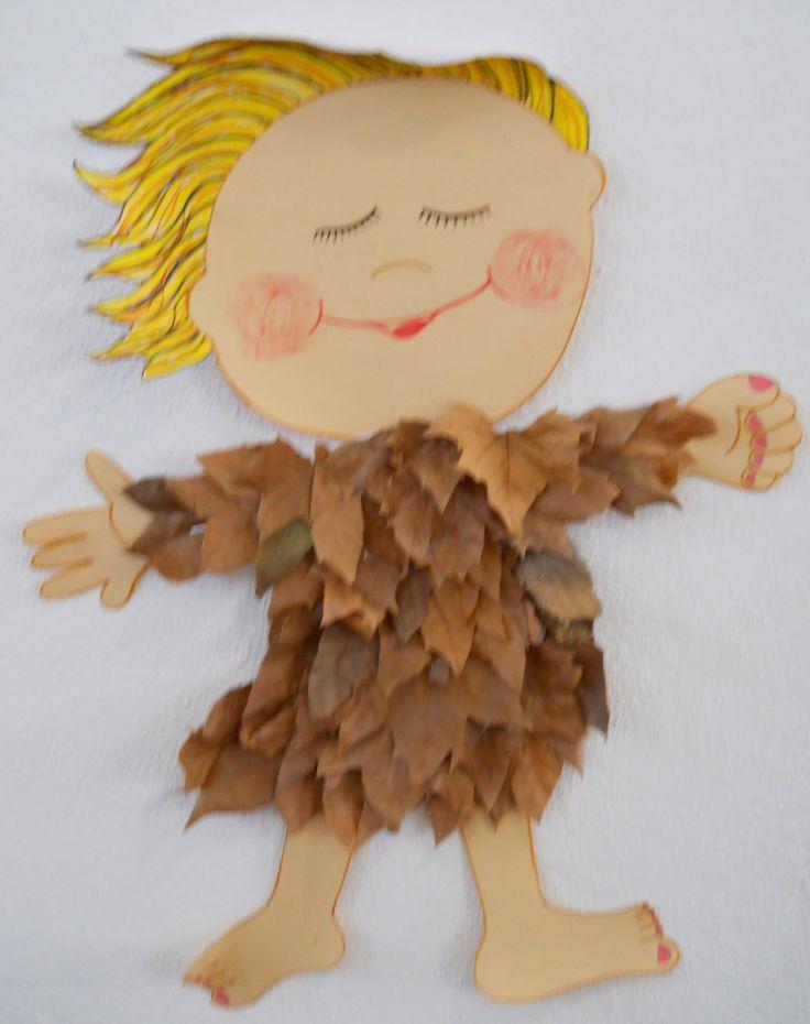 Autumn Kids Craft; I love Fall. Make me some Fall Clothing from Leaves. •°•° Herfst Kinder Knutsel; Geef mij mooie Herfst Kleding van gevonden Bladeren en Takjes.•°•° Outono