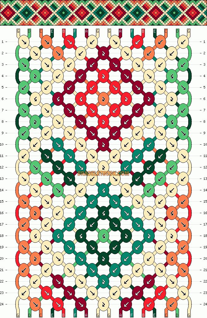 DIamonds friendship bracelet pattern number #10659 - For more patterns and inspiration visit our web or the app!