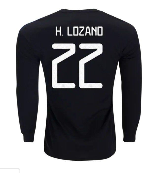 promo code 33ac5 e912d Hirving Lozano #22 MEXICO 2019-2020 Home Long Sleeve Jersey ...