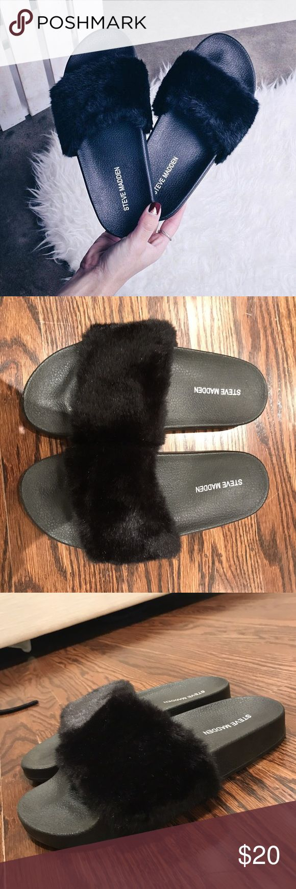 Steve Madden Furry Slides Steve Madden Furry Slides in Black! Super easy to slide on and go! Steve Madden Shoes Flats & Loafers