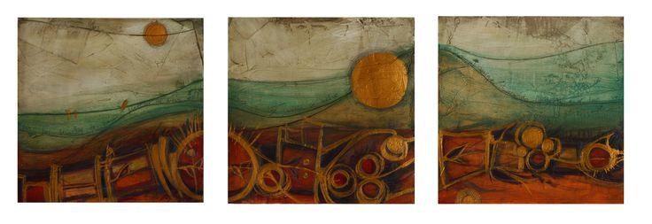 ¨Amanecer ¨, tríptico, 50 x 1.50 cms, acrílico sobre cartón.  Ana Milena Gómez