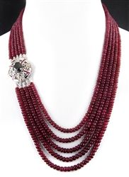 ruby necklace with a black diamond clasp