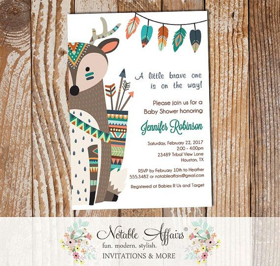 Indian Baby Shower Invitations Part - 33: Brave One Tribal Woodland Indian Deer On The Side Baby Shower Invitation -  Wild Little One