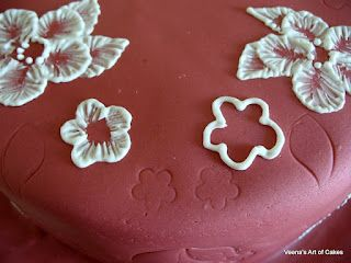 Brush embroidery cake tutorial...really smart using the cutter for outline