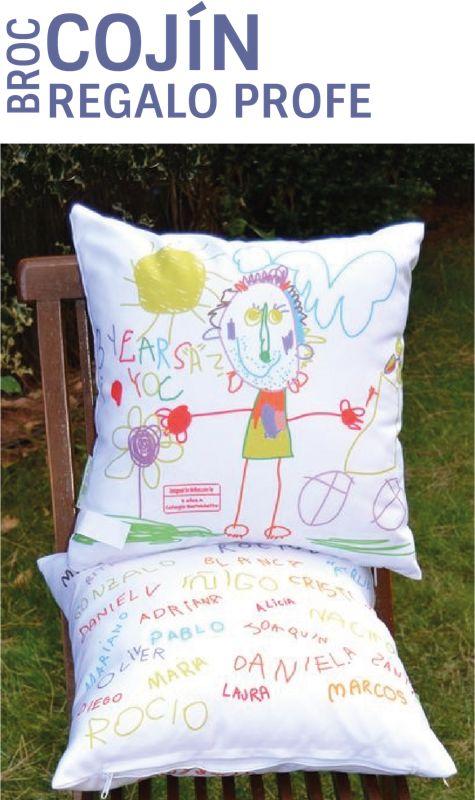 El regalo perfecto para el profesor. Regalale un Broc Cojín personalizado con los dibujos de sus niños. Regalos con sentimiento. www.mrbroc.com