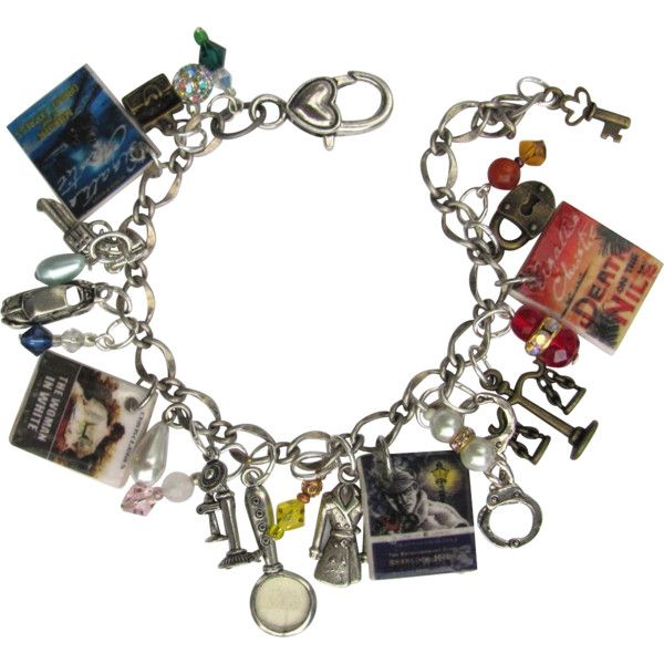 Mystery Lovers Charm Bracelet with Tiny Books Trench Coat Hand Cuffs... ❤ liked on Polyvore featuring jewelry, bracelets, handcuff bangle, handcuff jewelry, charm bracelet jewelry, glass jewelry and charm jewelry
