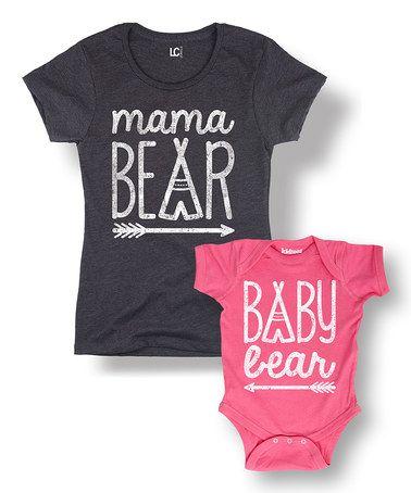 I LOVE this #zulilyfind! Heather Charcoal & Pink 'Bear' Tee & Bodysuit - Women & Infant #zulilyfinds