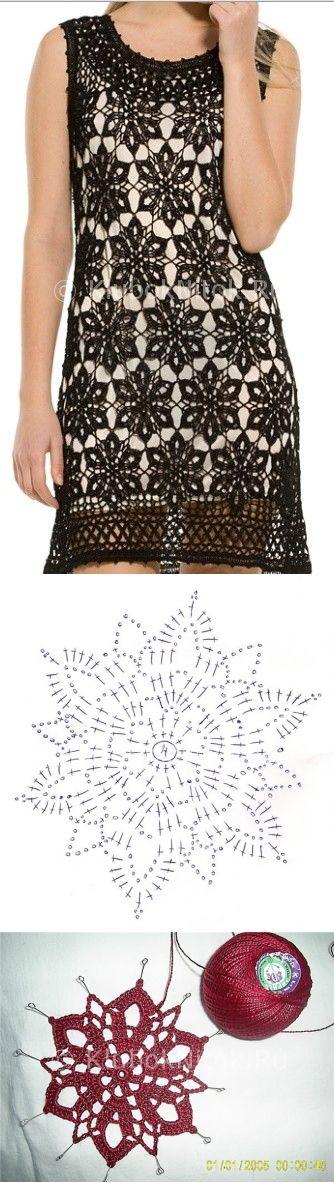 Платье из мотивов крючком | Вязание для женщин | Вязание спицами и крючком…