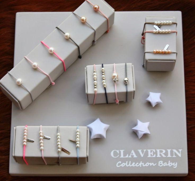 Claverin collection baby or blanc 18 carats et perles de culture sur lien de couleur #claverin #bracelet #enfant #bebe #bijoux #bijou #perle #skull #fleur #orblanc