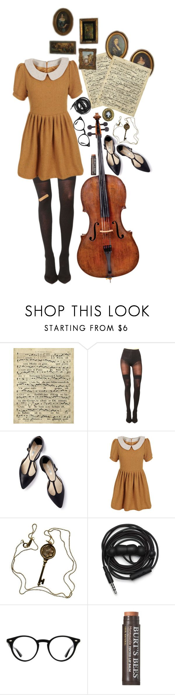 """""""play that funky music"""" by pixiekid ❤ liked on Polyvore featuring Art Classics, Pretty Polly, Boden, Tiffany & Co., Urbanears, Ray-Ban and Burt's Bees"""