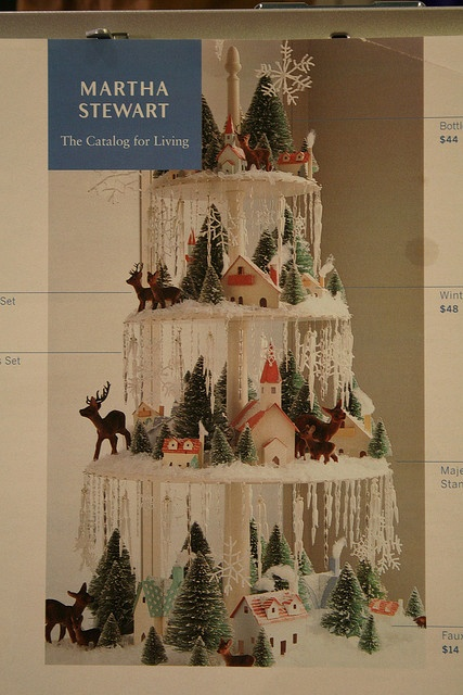 Putz houses on tiered cake stands...deer seem a little big...but CUTE!