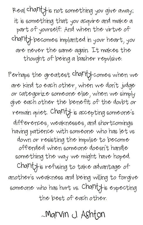 ...when there is charity