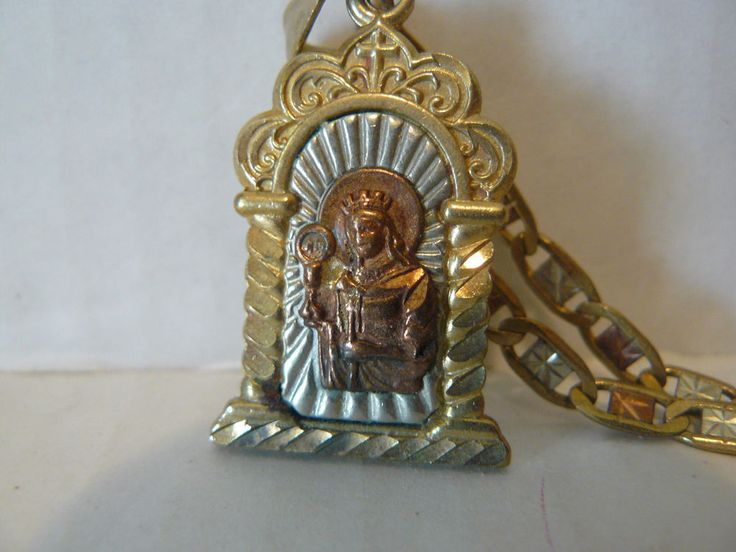 Gold Tone Metal Jesus Medal Pendant Link Chain Marked 14K Italy, Tested Not Real