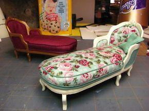 Muebles de casa de muñecas en miniatura - Tutoriales | minis 1 pulgada: diván francesa hecha de cartulina