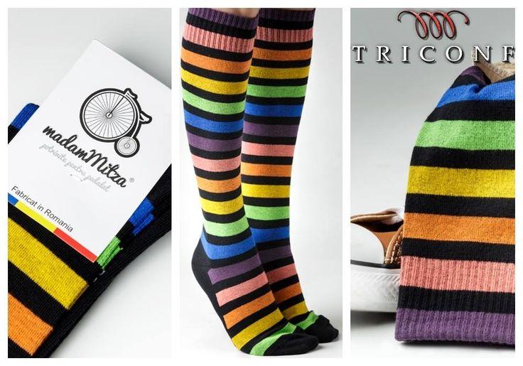 Sosetele Colored Stripes sunt un produs exclusiv romanesc, nou aparut pe piata, concepute intr-o combinatie de mai multe culori vii. Au fost create special pentru fetele care iubesc plimbarile prin natura sau ies la plimbare cu bicicleta prin oras.  http://www.triconf.ro/sosete-madam-mitza-colored-stripes/