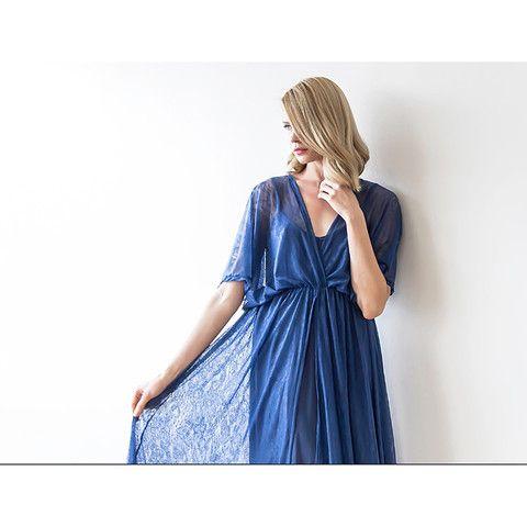 Dark blue maxi sheer lace dress, Blue maxi gown with bat sleeves, Bridesmaids sheer maxi dress , Batwings dress