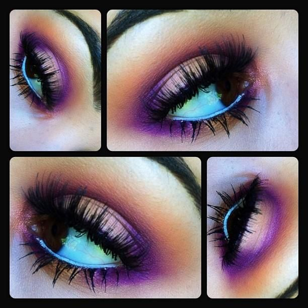 Samoa silk, vibrant grape and pink bronze pigment double stacked lashes.