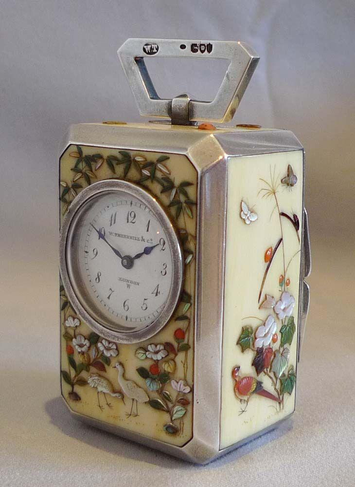 Antique shibayama & silver miniature carriage clock, original carrying case & key,Thornhill, London. - Gavin Douglas Antiques