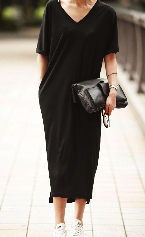 Black dress jersey - Jersey Shift Dress