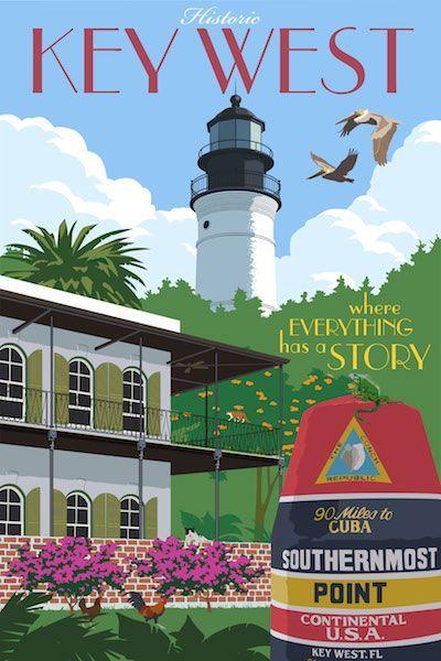 Key West, Florida vintage travel poster by Steve Thomas #ad