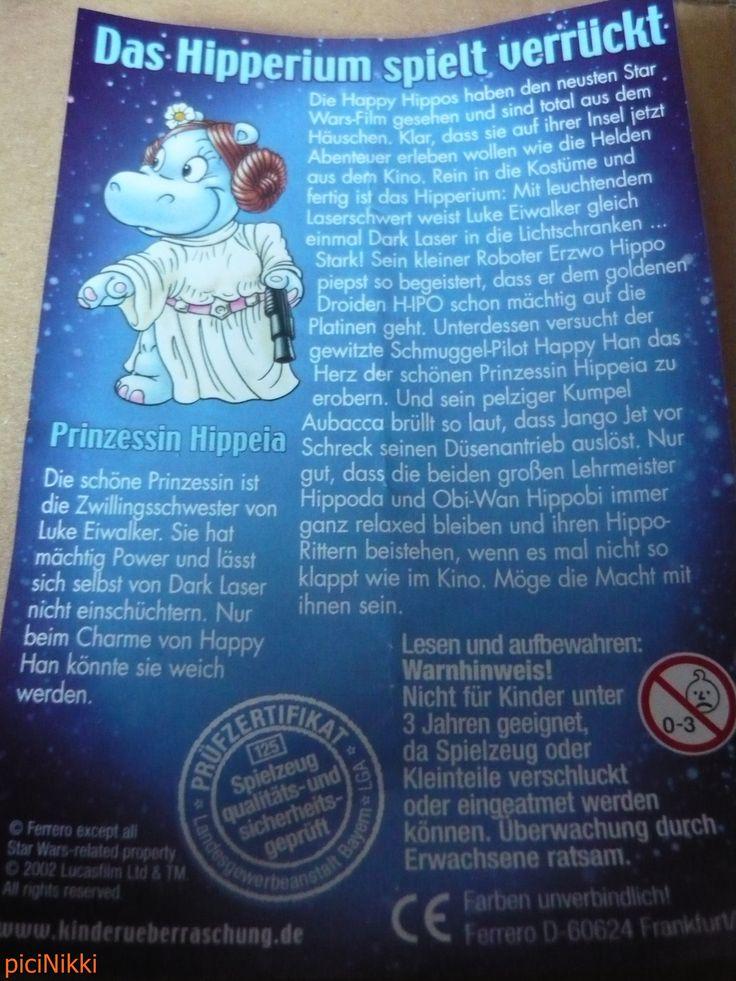 No. 29 | víziló | hippo | Happy Hippo | Kinder | Prinzessin Hippeia | Star Wars