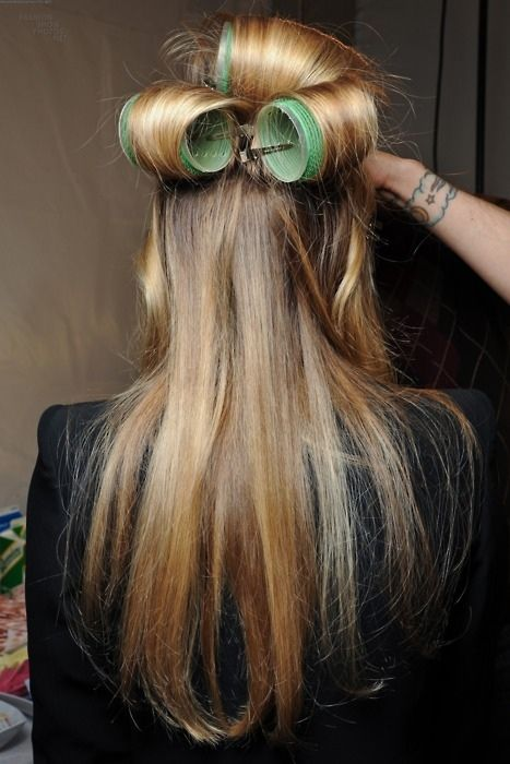 Do This To Get Volume!! Top layer in big rollers. Warm with dryer. Spray a light hairspray. Leave in for 10 min to cool.