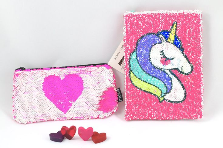 Valentine's  Small Gift Set, Magic Sequin Journal & Pouch