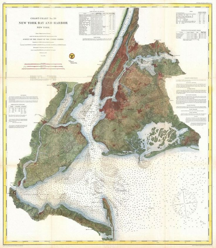nautical chart of map of new york city and harbor 1866
