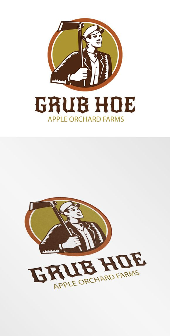 Grub Hoe Apple Orchard Farms Logo by patrimonio on Creative Market