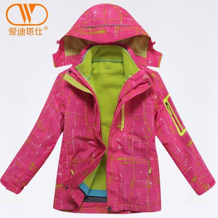 Новый 2015 детей охотничья одежда мальчики и девочки лыжные куртки 3 в 1 скалолазание куртка мальчики спорт на открытом воздухе сноуборд пальто
