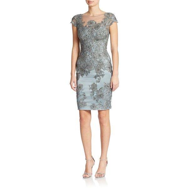 Women's Julian Joyce Sequined Lace Sheath Dress Dark Polar 4