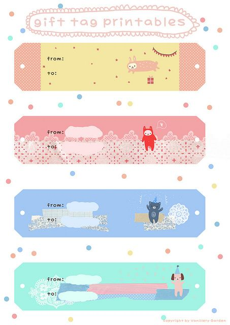 gift tags #free #printable #diy #crafts [cute, pastel washi tape inspired gift tags and/or labels]