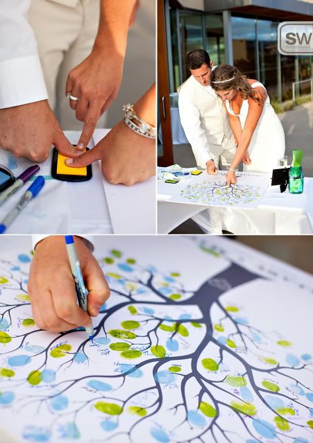 OMGGGG, I saw this on TLC and I have been planning to do the same thing for my wedding. I love the idea of having a tree connect everyone's finger prints together as one big family!