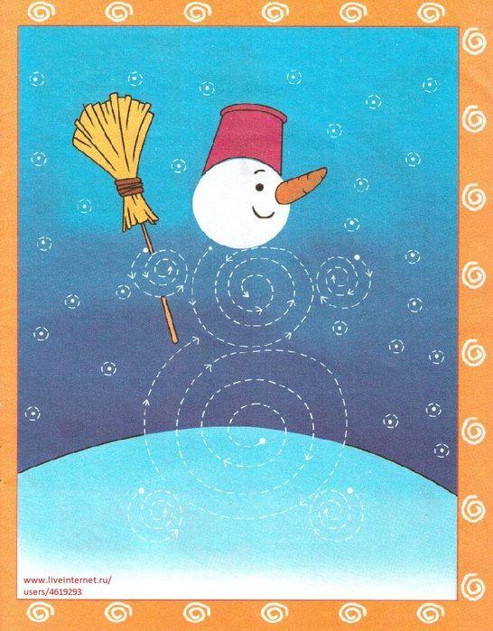 Schrijfpatroon sneeuwpop voor kleuters, thema winter