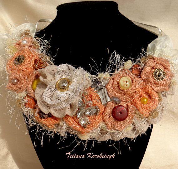 Collana di stileBoho fiori di stoffa  le di SilkRibbonembroidery