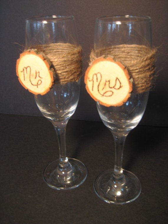 Rustic Wedding Bride and Groom Champagne toast glasses