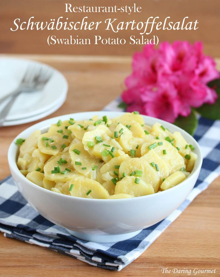 Schwäbischer Kartoffelsalat (Swabian Potato Salad / I love potato salad.  All kinds.  But my all-time favorite is Schwäbischer Kartoffelsalat from the Southern Germany region of Swabia where I grew up (Stuttgart). . Follow these seven tips and you'll be in Swabian Potato #Salad heaven!