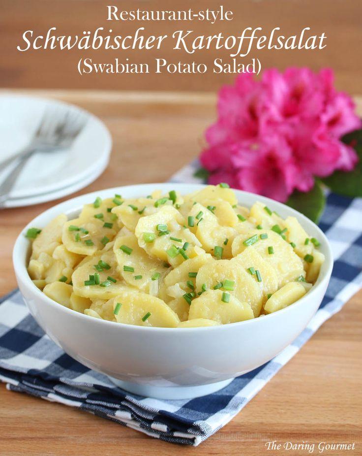 Schwäbischer Kartoffelsalat (Swabian Potato Salad / I love potato salad.  All kinds.  But my all-time favorite is Schwäbischer Kartoffelsalat from the Southern Germany region of Swabia where I grew up (Stuttgart). . Follow these seven tips and you'll be in Swabian Potato #Salad heaven!