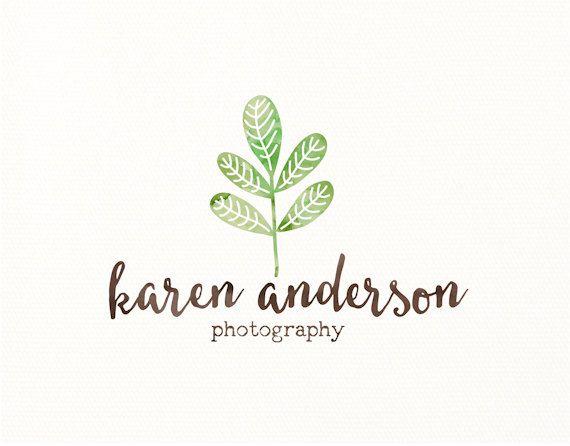 logotipo de hoja hojas planta acuarela por LittleBirdBB en Etsy
