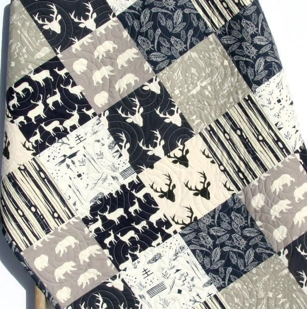 Navy Deer Gray Boy Quilt Modern Woodland Baby Toddler Bedding