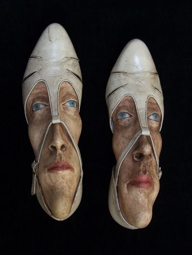 "In her sculptures, Gwen Murphy sees shoes as a kind of fetish, which she defines as ""an object believed to have magic powers to protect or aid its owner."" Shoes hold a power we don't often think of – to transport and protect us."